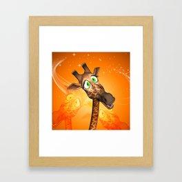 Funny cartoon giraffe Framed Art Print