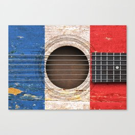 Old Vintage Acoustic Guitar with French Flag Canvas Print