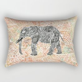 Tribal Paisley Elephant Colorful Henna Floral Pattern Rectangular Pillow