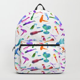 Watercolor Hairstylist Rainbow Pattern Backpack