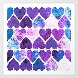Mod Purple & Blue Grungy Hearts Design Art Print
