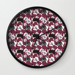 Collie Dogs burgundy  Wall Clock
