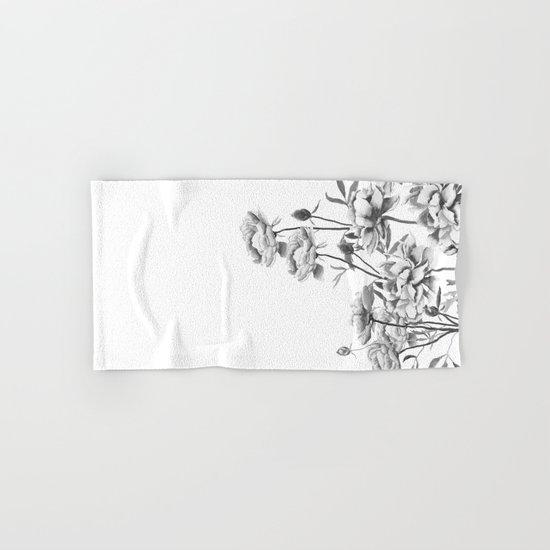 black and white peonies  Hand & Bath Towel