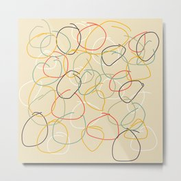 Bright Classic Freehand Abstract Minimal Retro Style Crooked Circles #1 Metal Print