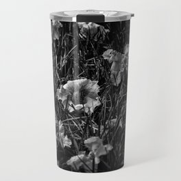 Backyard Flowers In Black And White 23 Travel Mug