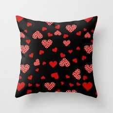 Valentines Hearts black Throw Pillow