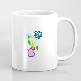 TWO FLOWERS IN SQUASHED VASE Coffee Mug