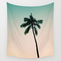 palm tree Wall Tapestries featuring palm tree by noirblanc777