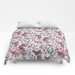Cute Vintage Pink Cuddly Koalas Comforters