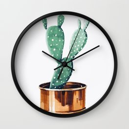 Potted Cactus Bronze Copper Wall Clock