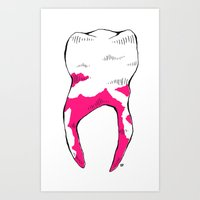 tooth Art Prints featuring Tooth by - OP -