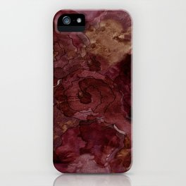 Rose, Burgundy and Merlot Watercolor Flowers iPhone Case