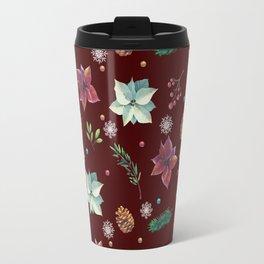 Colorful Christmas Red White Poinsettia Pine Cones Snowflakes Travel Mug