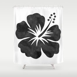 Hibiscus Watercolor Shower Curtain
