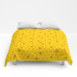 Mind Your Own Beeswax / Bright honeycomb and bee pattern Comforters