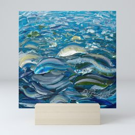 Original Oil Painting With Palette Knife On Canvas  Impressionist Roling Blue Sea Waves by OLena Art Mini Art Print
