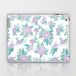 Floral bouquet pastel mint lilac florals painted painted pattern basic minimal pattern print Laptop & iPad Skin