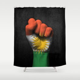 Kurdish Flag on a Raised Clenched Fist Shower Curtain