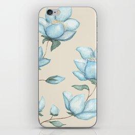 Blue Magnolias on Cream iPhone Skin
