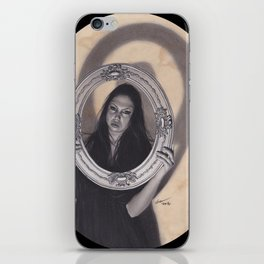 Realism Charcoal Drawing of Beautiful Woman with Antique Frame iPhone Skin