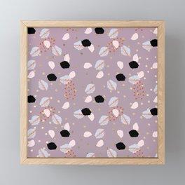 Modern mauve pink black gold geometrical brushstokes Framed Mini Art Print