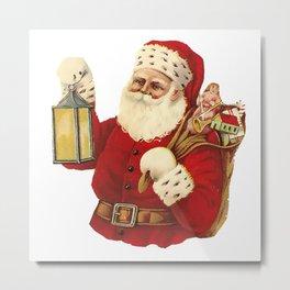 Vintage Santa Christmas Illustration Metal Print