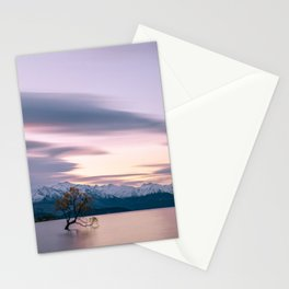 Scenic River with a Solo tree and Mountain Background Stationery Cards