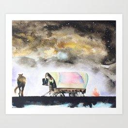 Rising stars above Art Print