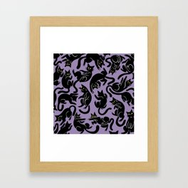 Tumbling Black Cat Framed Art Print