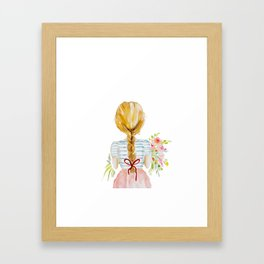 Blonde Girl with Flowers Framed Art Print