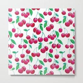Watercolour Cherries   White Background Metal Print
