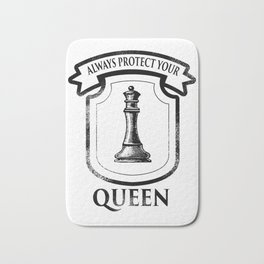 chess queen lady board game funny gift Bath Mat