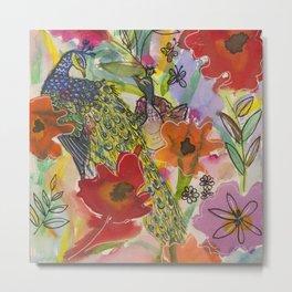 Poppies & Birds Metal Print