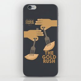 The gold rush, movie illustration, Charlie Chaplin film, vintage poster, Charlot, b&w cinema iPhone Skin