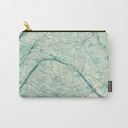 Paris Map Blue Vintage Carry-All Pouch