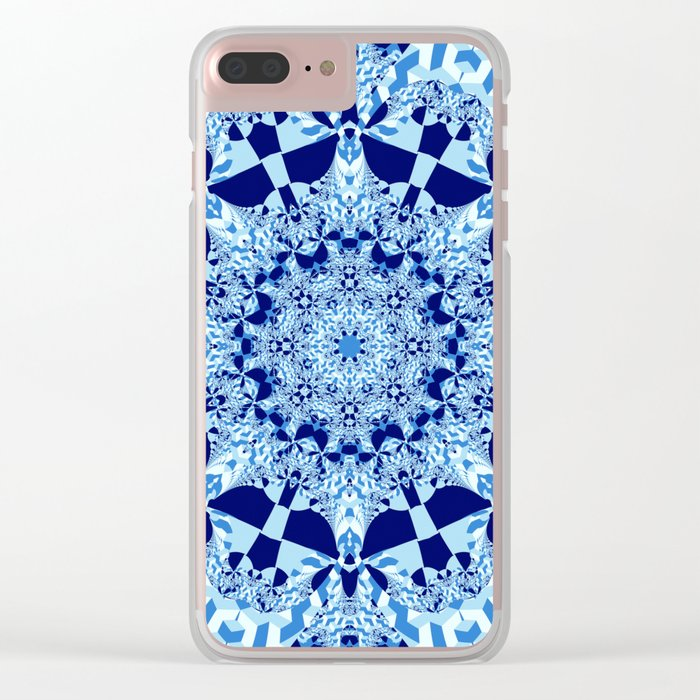 Blue toned cubism in a kaleidoscope Clear iPhone Case