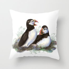 Watercolor Puffin Bird Couple Throw Pillow