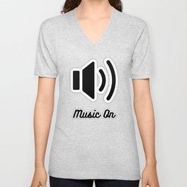 Music On (black on white version) Unisex V-Neck
