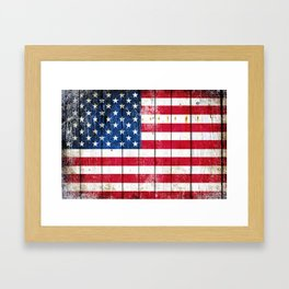 Distressed American Flag On Wood Planks - Horizontal Framed Art Print