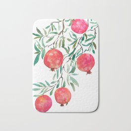 red pomegranate watercolor Bath Mat