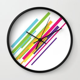 Colorful Stripes Art Beautiful Green Orange Yellow Pink Purple Happiness Shirt Gift Idea Friends Wall Clock