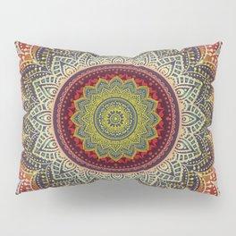 Retro Folk Art - Spirit Lotus Mandala Blue Red Pillow Sham