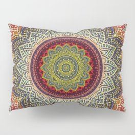 Retro Folk Art - Spirit Lotus Mandala Blue Red Pillow Sham