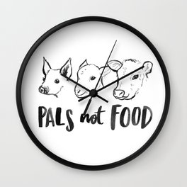 Pals Not Food Illustration by Laura Tubb Wall Clock
