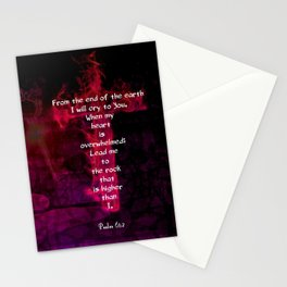 Psalm 61:2 Bible Verse Inspirational & Beautiful Christian Art Stationery Cards