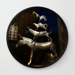 Bremen Town Musicians (sculpture, at night) Wall Clock