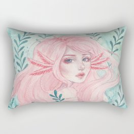 Axolotl girl Rectangular Pillow
