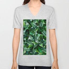 Banana palm leaf tropical jungle green Unisex V-Neck