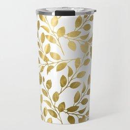 Gold Leaves on White Travel Mug