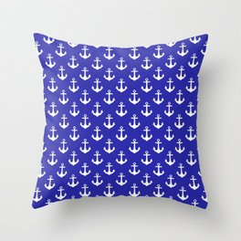 Anchors (White & Navy Blue Pattern) Throw Pillow